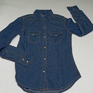 Seven7 XS Blue Jean Long Sleeve Button Front Shirt